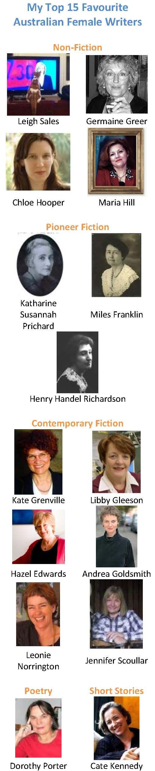 My Top 15 Favourite Australian Female Writers
