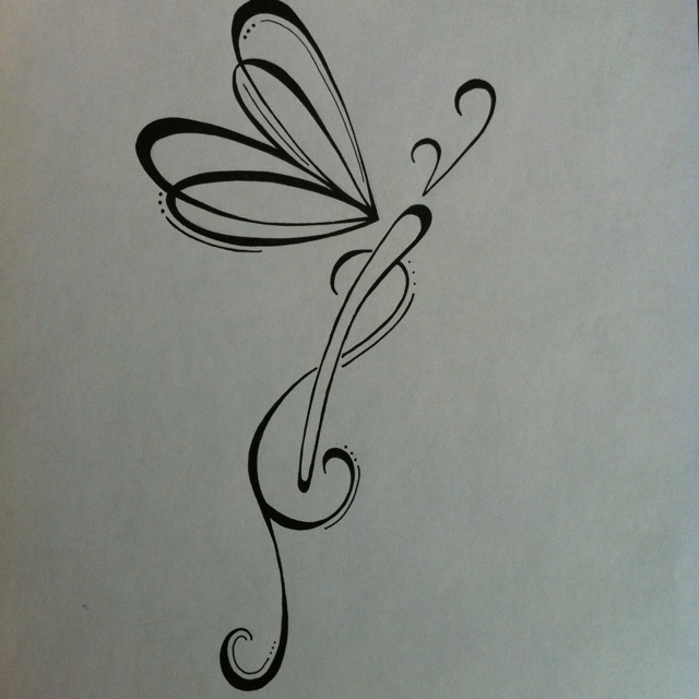 Original dragonfly #tattoo design. Black and white ink. 5x3 inches www.silverwingsart.com