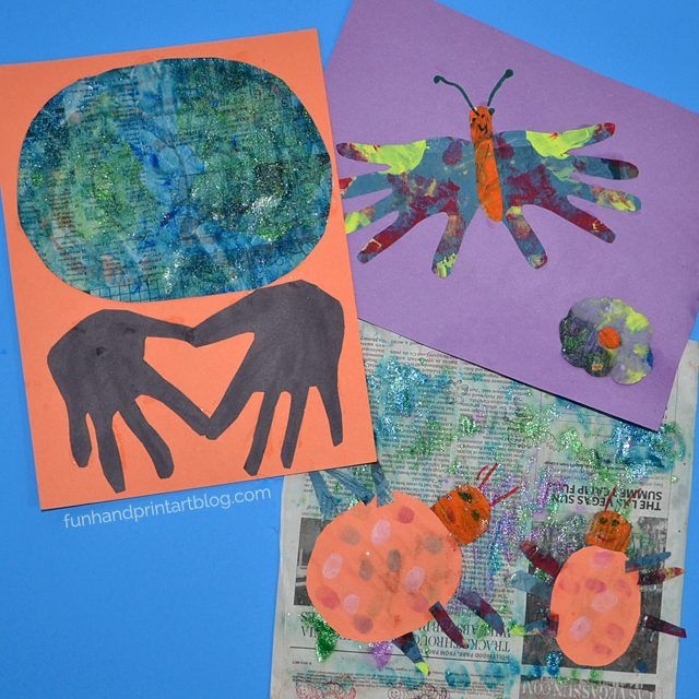 Painted Newspaper Art for Kids - let them paint newspaper and then turn it into artwork. We made an Earth Day handprint crafts, ladybugs, and a butterfly!