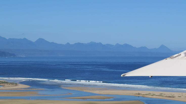 Pansyshell bank viewed from La Vista Lodge in Plettenberg Bay. Everchanging Keurboomsriver Mouth.