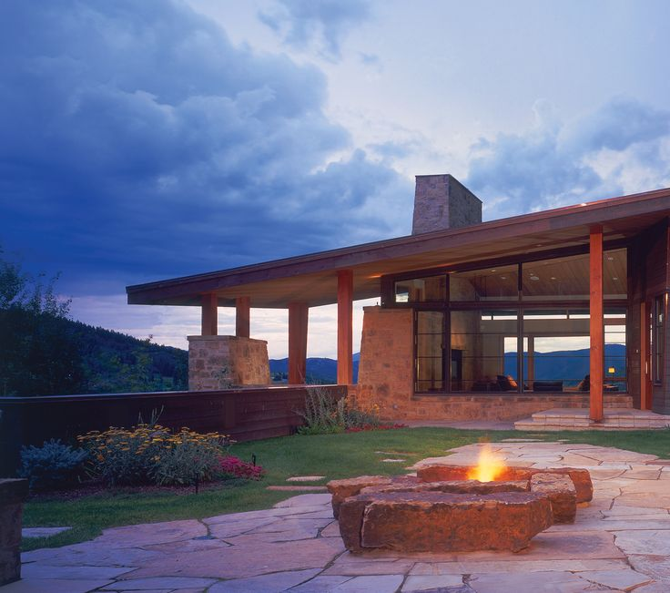 Mountain Contemporary, fire pit