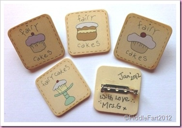 Fairy Cake Pin Brooches