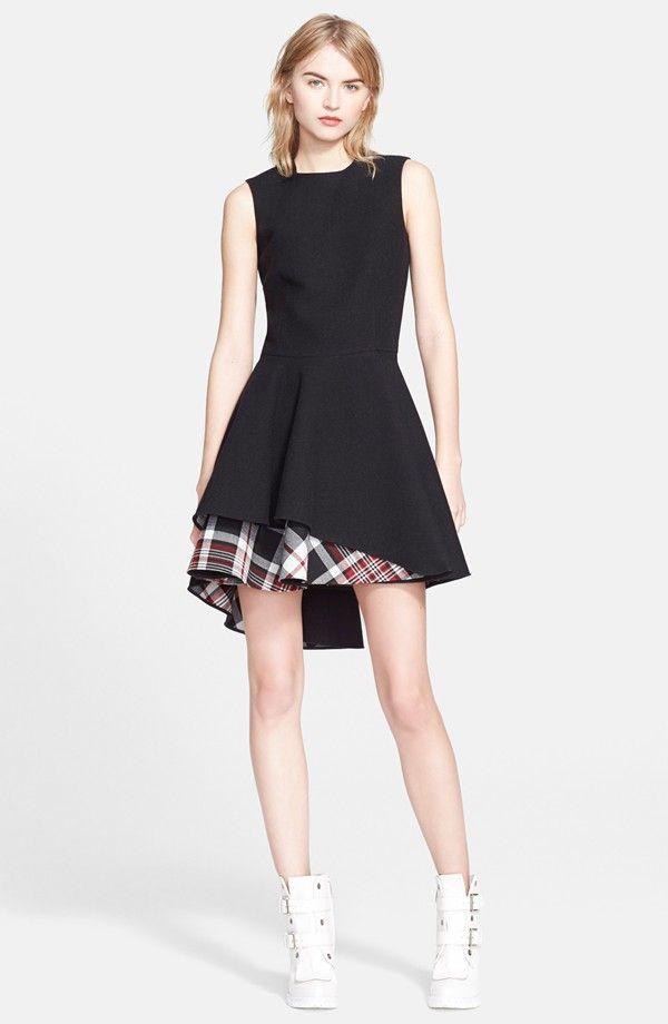 Alexander McQueen Plaid Hem Flared Dress