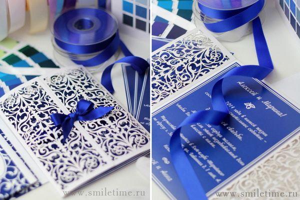 свадебные приглашения с кружевом #invitation #wedding #blue