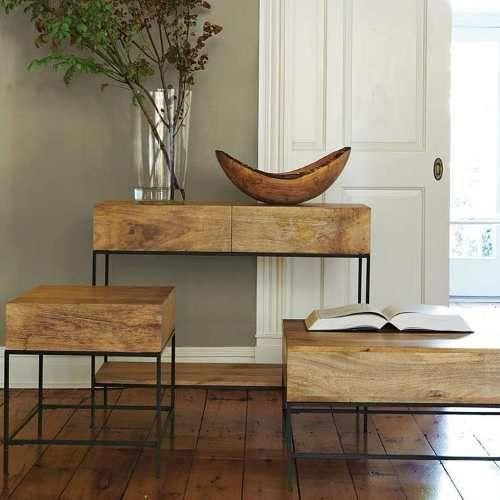 escritorio hierro enchapado madera cajones . mesa perchero