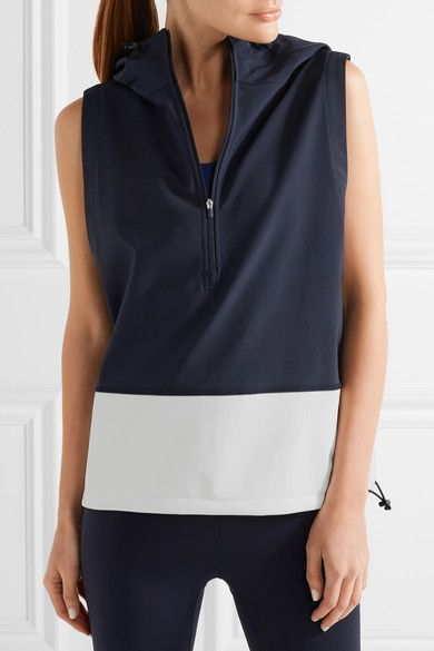 Tory Sport - Hooded Stretch-jersey And Shell Vest - Midnight blue - x large