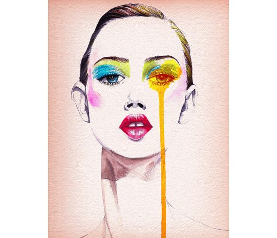 Fashion illustration , wall art , Fashion portrait , Titled- Fashion Model