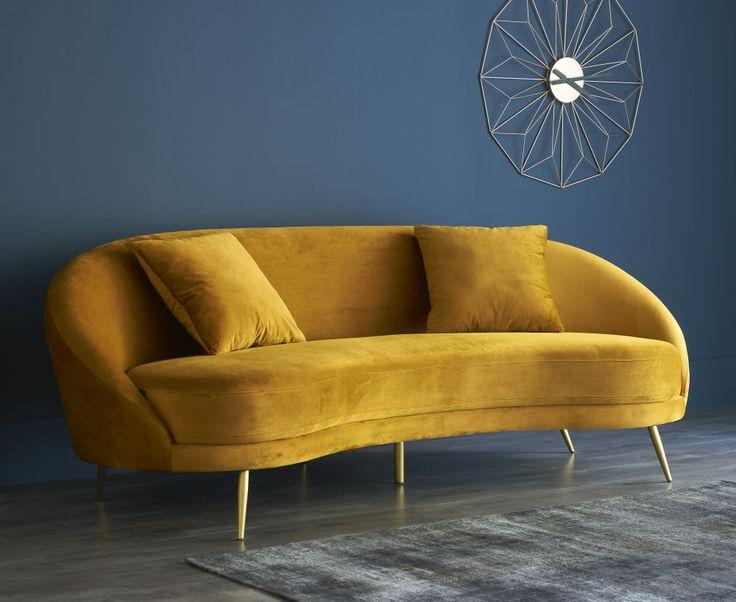 Divano vintage 3/4 posti giallo in velluto in 2020