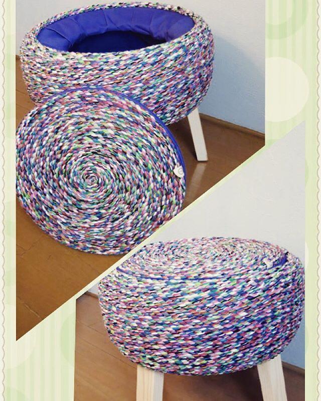 Les presentamos este bellísimo #volován con tapa que esta a la #venta!! Su cuerda es de color verde claro, verde obscuro, azul turquesa, azul rey, rojo, rosa, naranja, gris, blanco y negro. Su interior es de tela color morado. Te puedes sentar en el y también puedes guardar cosas en él.  Si estas interesado comunícate con nosotros a ayokdesign@gmail.com o si quieres ver otros diseños entra a  Facebook https://www.facebook.com/ayokdesign o en nuestra página http://ayokdesign.com  #AYOK…