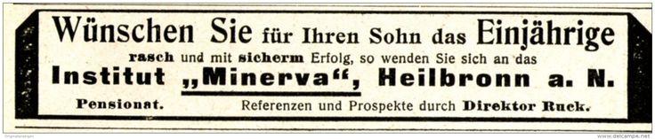 Original-Werbung/ Anzeige 1915 - INSTITUT MINERVA - HEILBRONN - ca. 110 x 20 mm