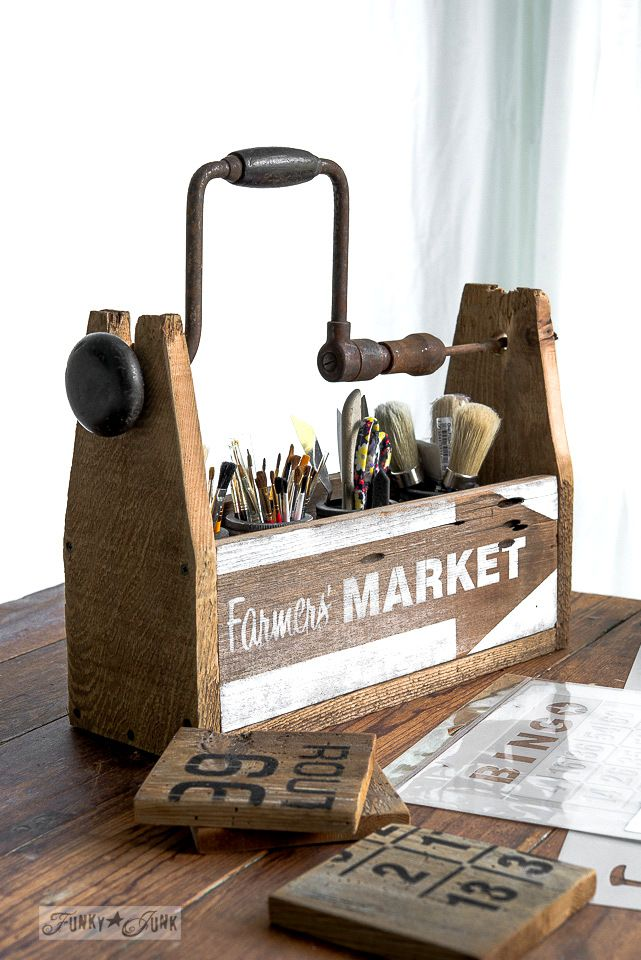Paint brush organizer from a drill handled toolbox with Farmers' Market stencil  / funkyJunkinteriors.net