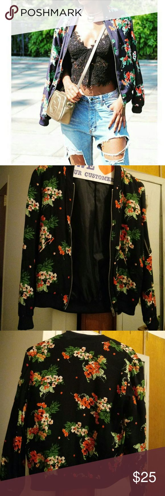 Zara bomber jacket This is a spring seasonal bomber floral jacket. Its in great and has only been uses once. Zara Jackets & Coats