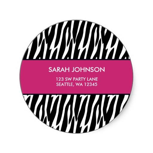 Pink and black zebra pattern custom address label round stickers