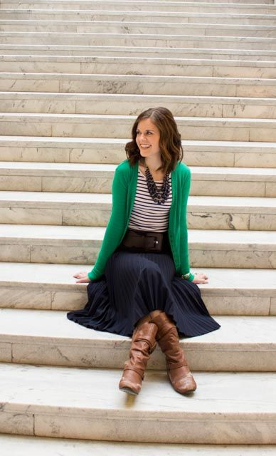 Modest Navy Blue Skirt with brown boots and green cardigan