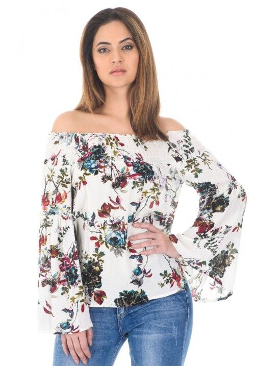 Cream Floral Bardot Top With Elasticated Shoulder Detail