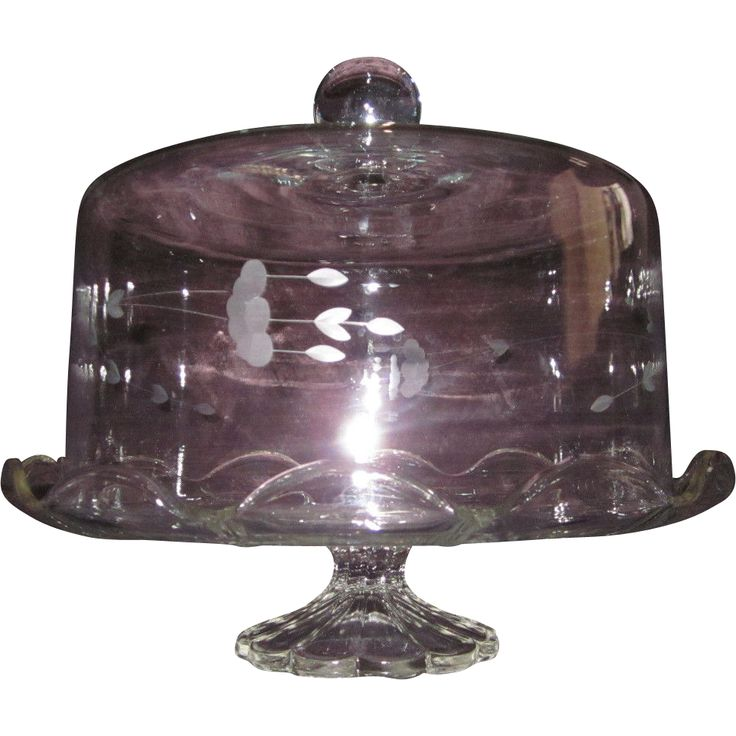 Princess House Crystal Heritage Etched Fuchsia Pedestal Cake/Dessert Stand