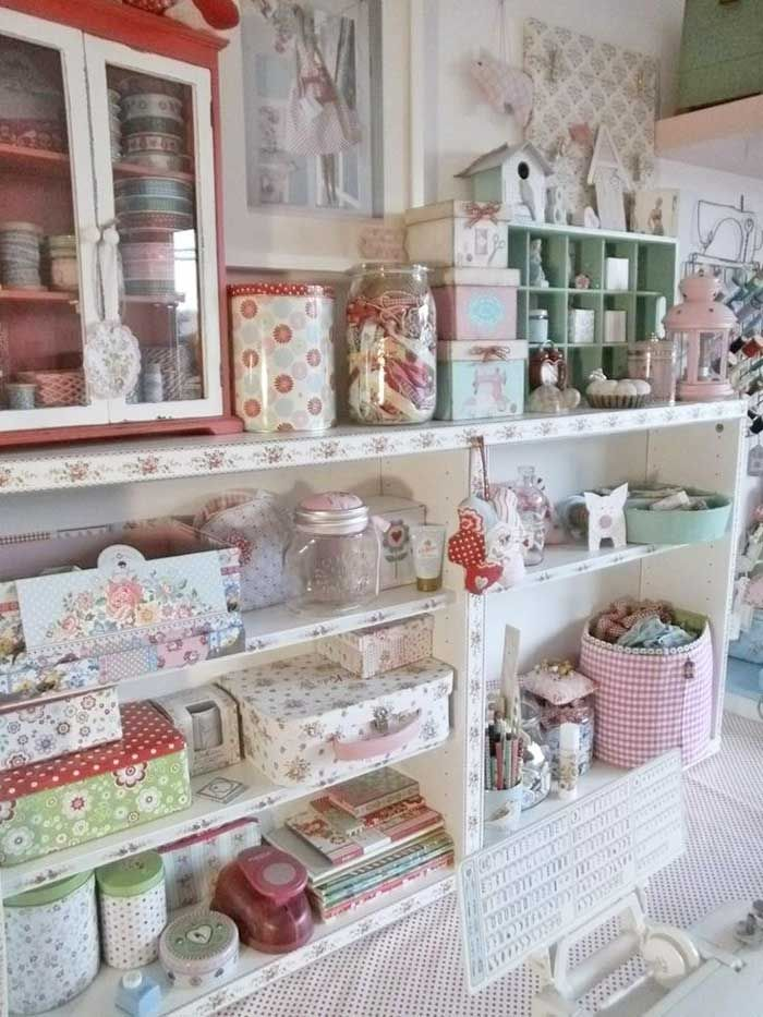 I like the use of tin cans and paper boxes shabby studio