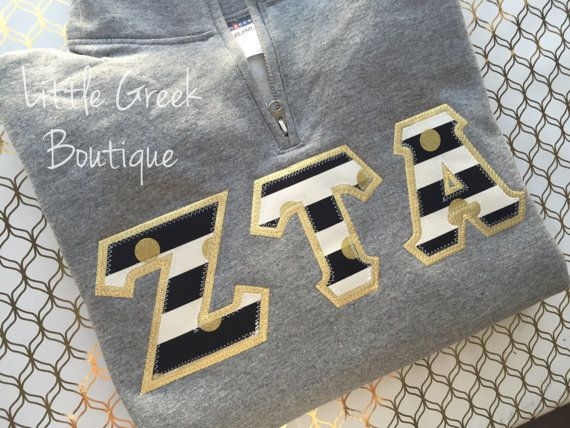 Quarter Zip Greek Letter Sweatshirt by LittleGreekBoutique on Etsy