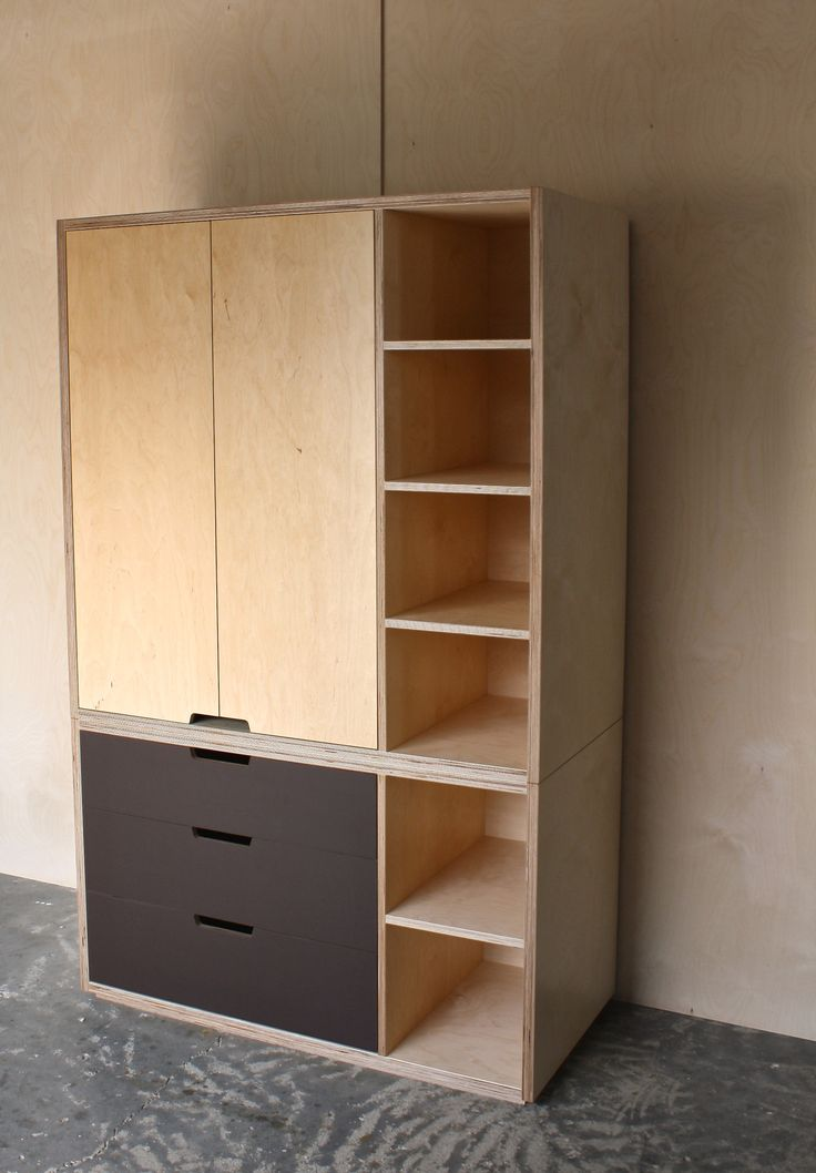 Plywood Wardrobe with Lino drawer fronts