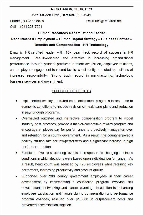Human Resources Generalist Resume New 40 Hr Resume Cv Templates Hr Templates Human Resources Resume Job Resume Examples Job Resume Samples
