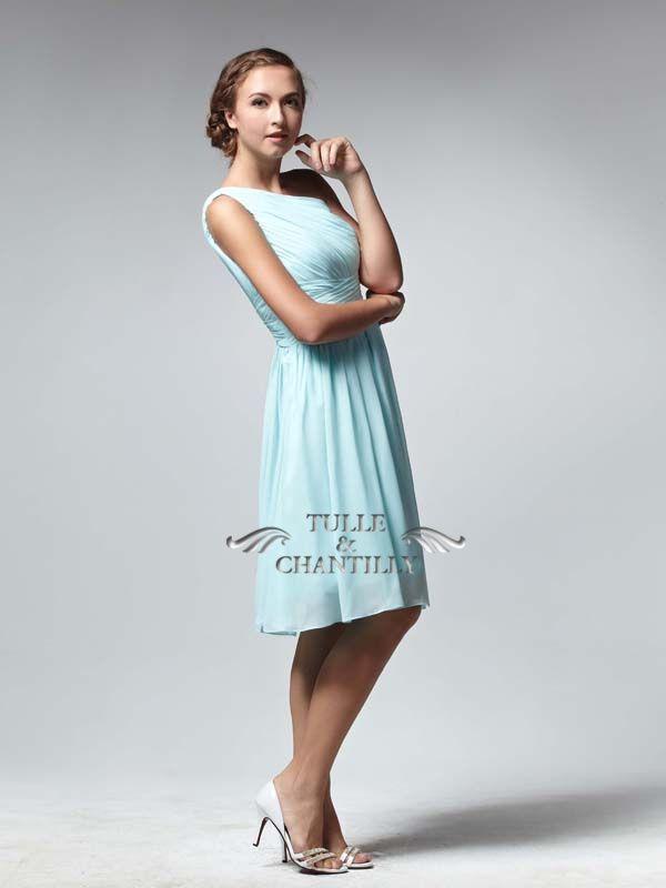 Pretty Royal Blue Tea Length One-shoulder Cocktail Bridesmaid Dress 2