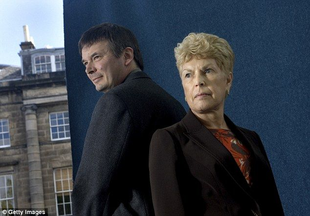 Ian Rankin and Ruth Rendell photographed at the Edinburgh International Book Festival in August 2007