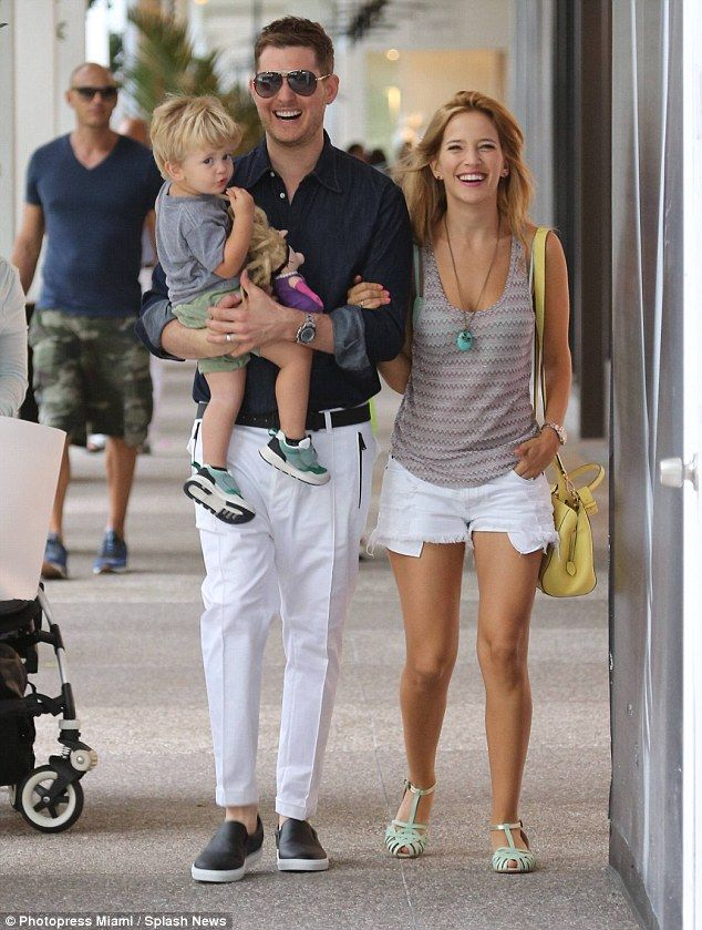 Happy family! Michael Buble enjoys a Miami vacation with his wife Luisana and son Noah...