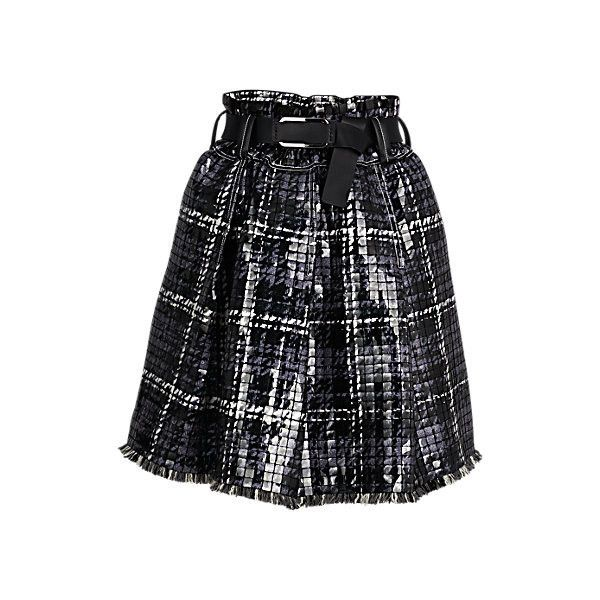 EMBROIDERED BELTED SKIRT ($10,800) ❤ liked on Polyvore featuring skirts, tartan skirt, sequin skirt, tartan plaid skirt, knee length pleated skirt and plaid pleated skirt