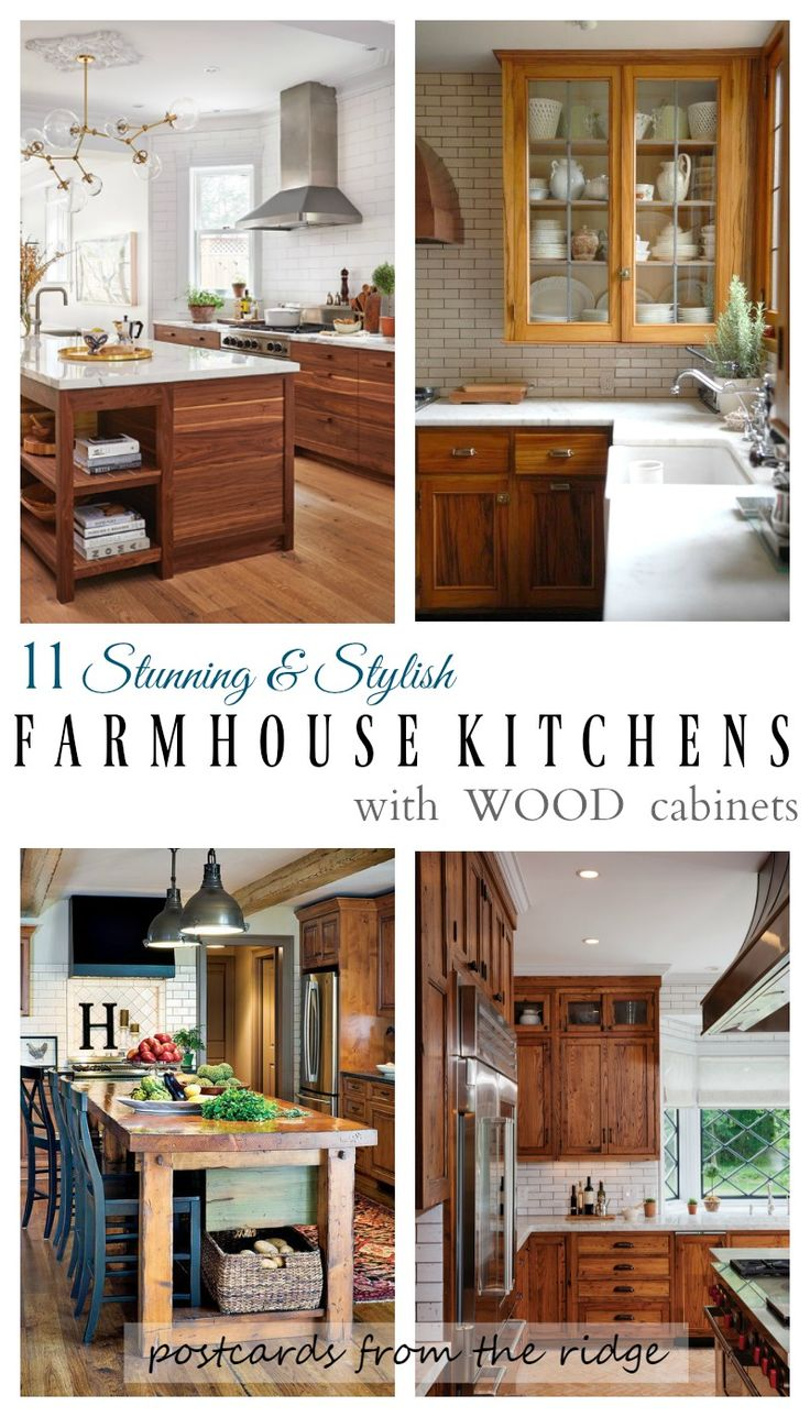 Such gorgeous kitchens and they all have wood cabinets. LOVE! Postcards from the Ridge
