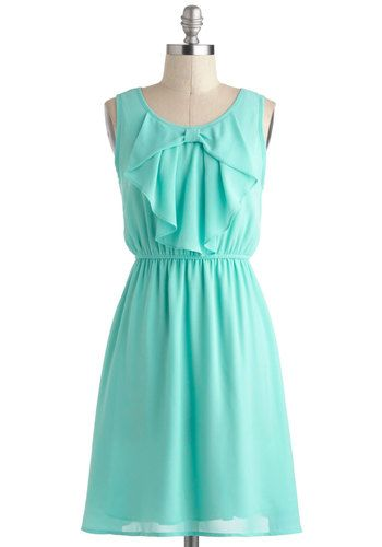 Every Now and Femme Dress - Mint, Solid, Bows, Daytime Party, Pastel, A-line, Sleeveless, Spring, Mid-length, Casual, Graduation