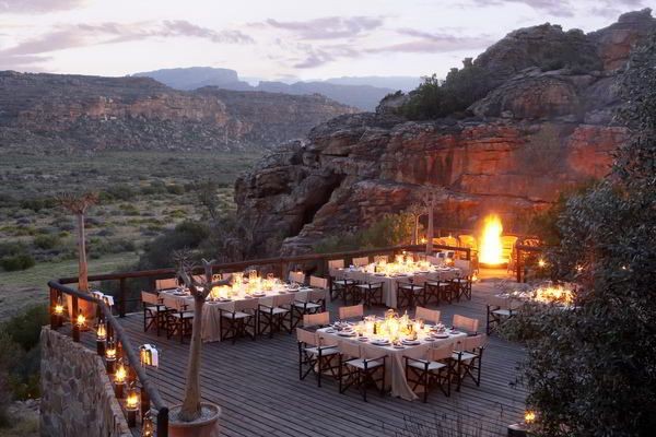 The perfect romantic city break - enjoy a romantic dinner at sunset. This is an insiders secret ... the #Bushmans Kloof Reserve.