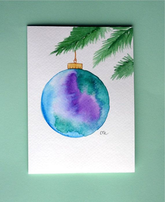 Watercolor card No.214 Christmas ornament by ArtworksEclectic