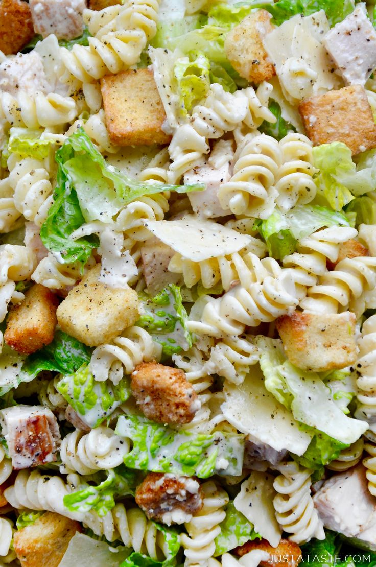 Huhn Caesar Pasta Salat Rezept