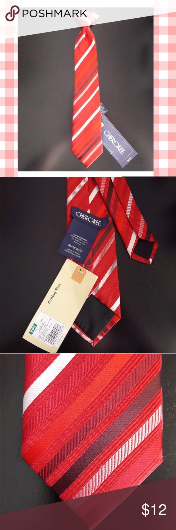 """Striped Clip On Tie Cherokee KIds's Necktie  No flaws.  Approx. Measurements:  13.75"""" x 2.75""""   Please, review pictures. You will get the item shown. Smoke & pet free home. Cherokee Accessories Ties"""