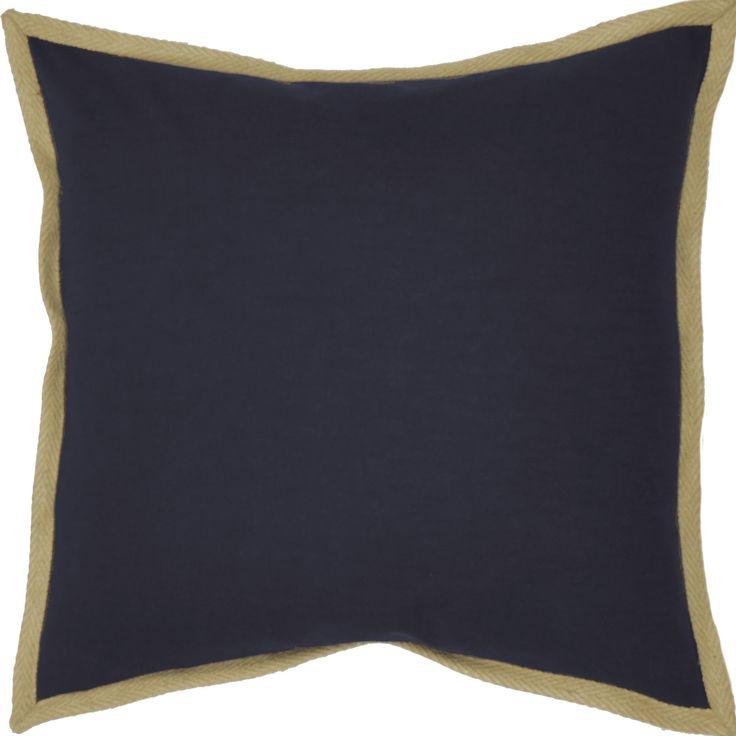 Jute Border Cotton Throw Pillow