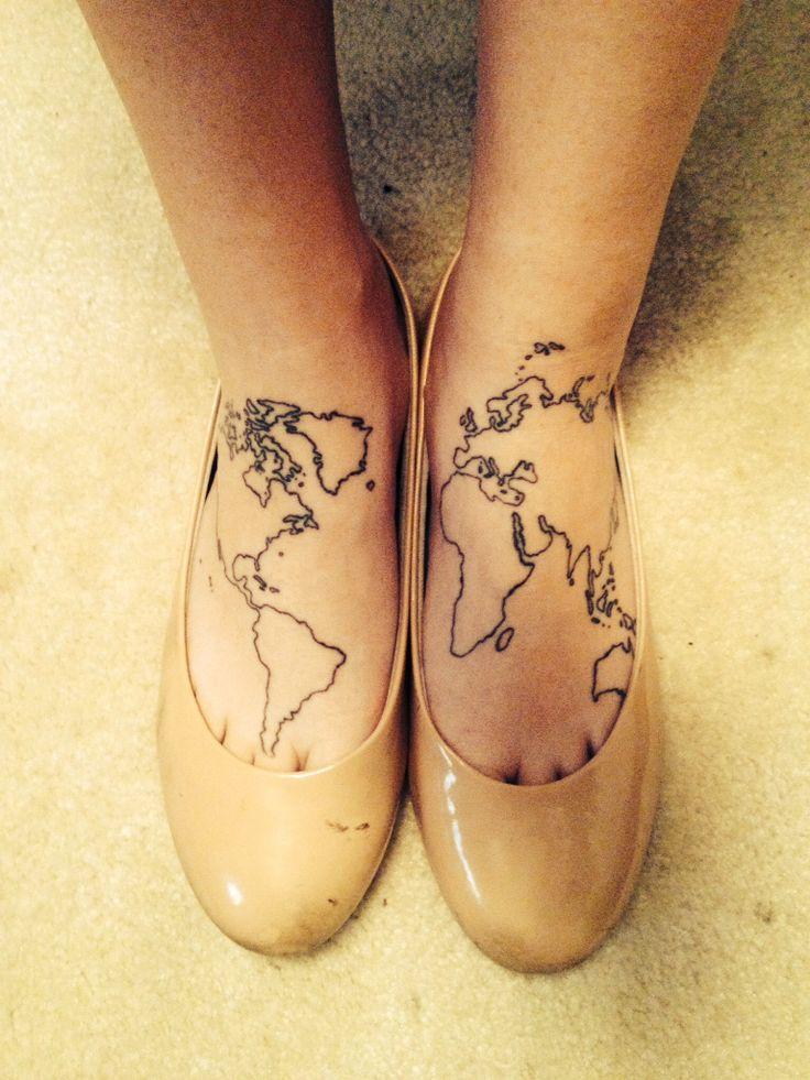map foot tattoo #map #world #foot #feet #tattoo #ink # ...