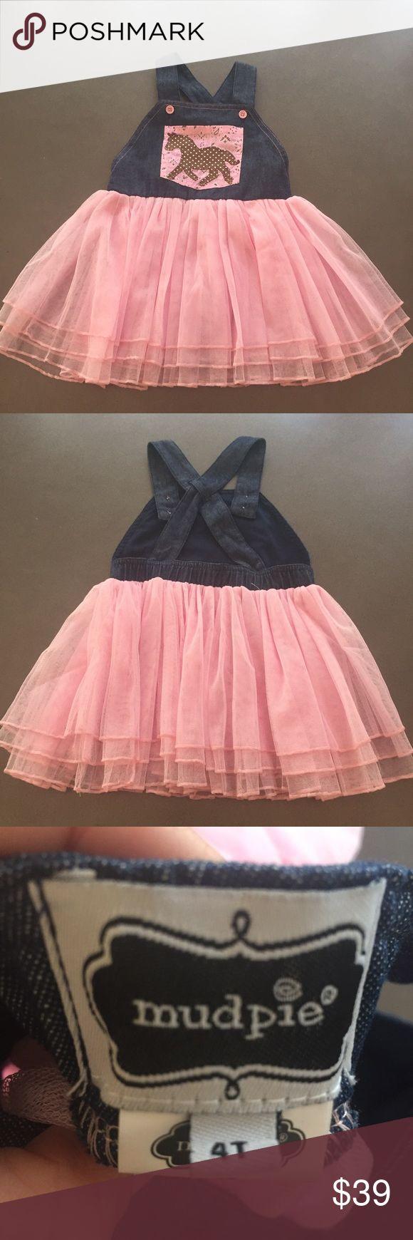 NWOT! Mud Pie tulle and denim dress Adorable NWOT pink tulle and denim cross back dress!  Perfect condition! Mud Pie Dresses Casual