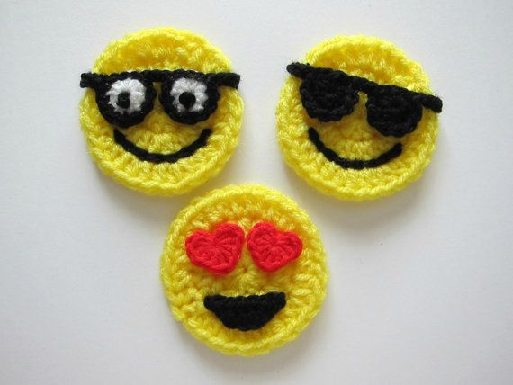 "1pc 3"" EMOJI Crochet el Applique                                                                                                                                                                                 Más"