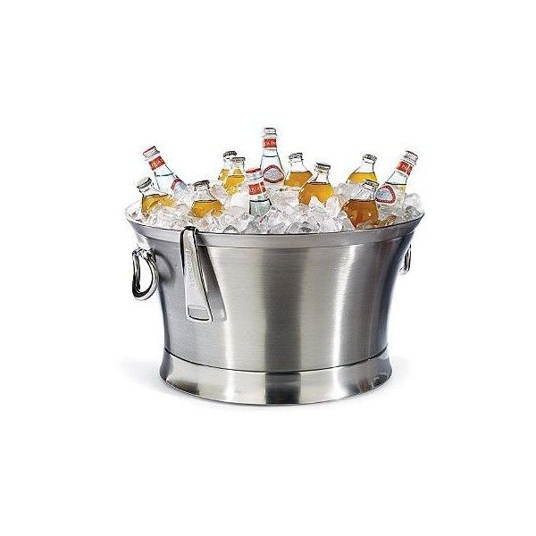 "Optima Beverage Tub - 21"" ($150) ❤ liked on Polyvore featuring home, kitchen & dining, bar tools, stainless steel wine chiller, stainless steel ice bucket, stainless tray, appetizer trays and ice-buckets"
