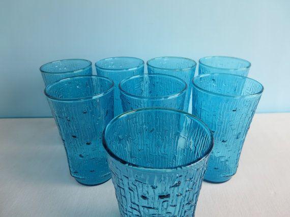 Vintage Blue Drinking Glasses Anchor Hocking by AmeliaRoseVintage