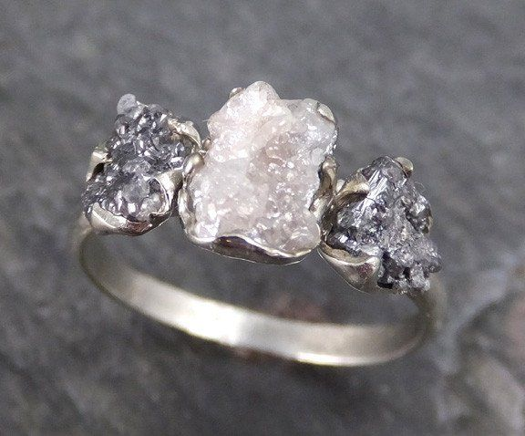 Rough Diamond Engagement Ring Raw 14k White black Gold Wedding Ring Wedding Set diamond three stone Rough Diamond Ring byAngeline