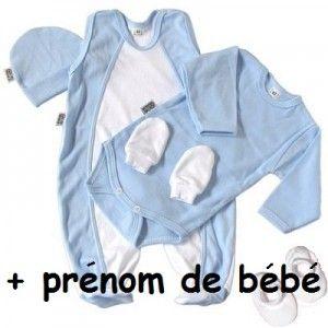 Ensemble naissance bébé garçon avec prénom de bébé (5 pièces)