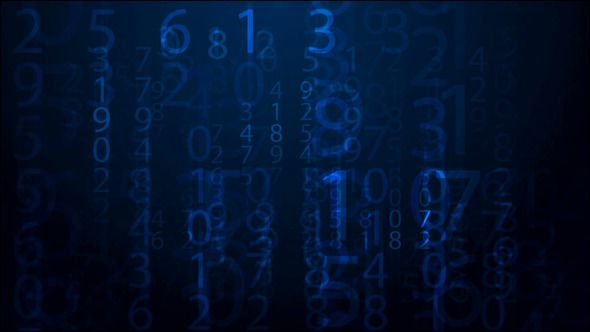 Numbers Scrolling Across The Screen ...  Mathematical Symbol, background, byte, coding, communication, computer, data, information, internet, monitor, number, science, screen, scrolling