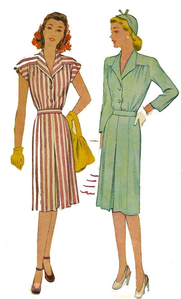 """Vintage 1940's Sewing Pattern yoked pleated Dress Bust 30"""" Word War 2 Wartime #DuBarry"""