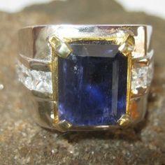 Cincin Pria Silver Ring 8.5US Iolite