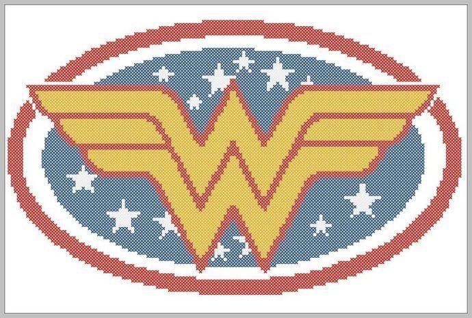BOGO Free! Wonder Woman Logo superheroine logo DC Comics   pdf cross stitch pattern  -  pdf pattern instant download