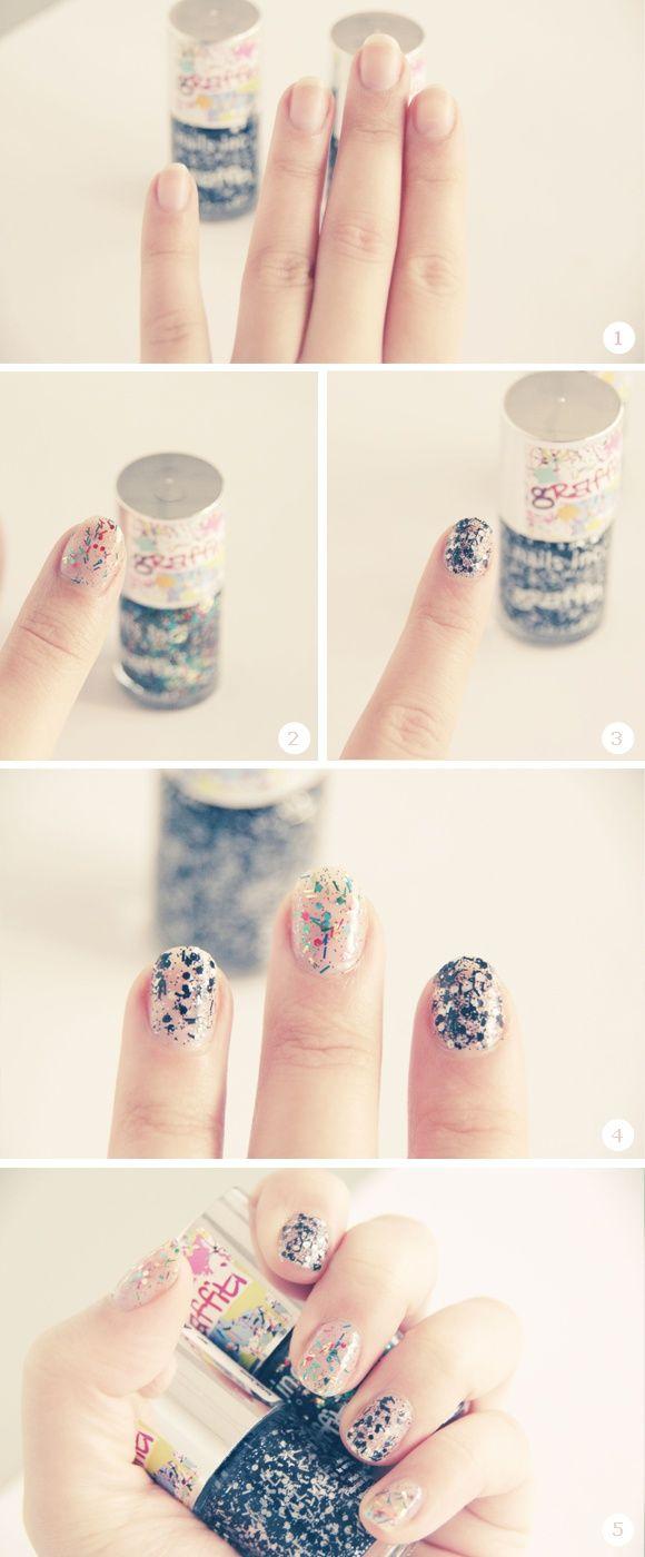 Uñas decoradas con glitter al mejor estilo graffiti   Decoración de Uñas - Manicura y Nail Art
