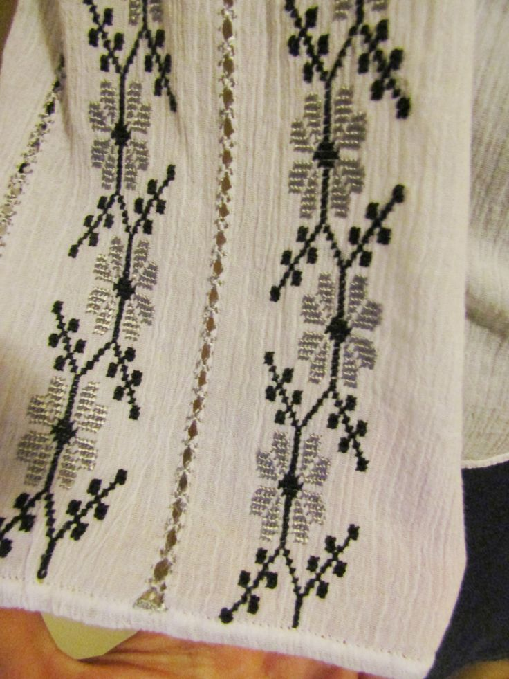 Hand embroidered Romanian peasant blouse, ethnic handmade top size S - M - black and gray hand embroideries