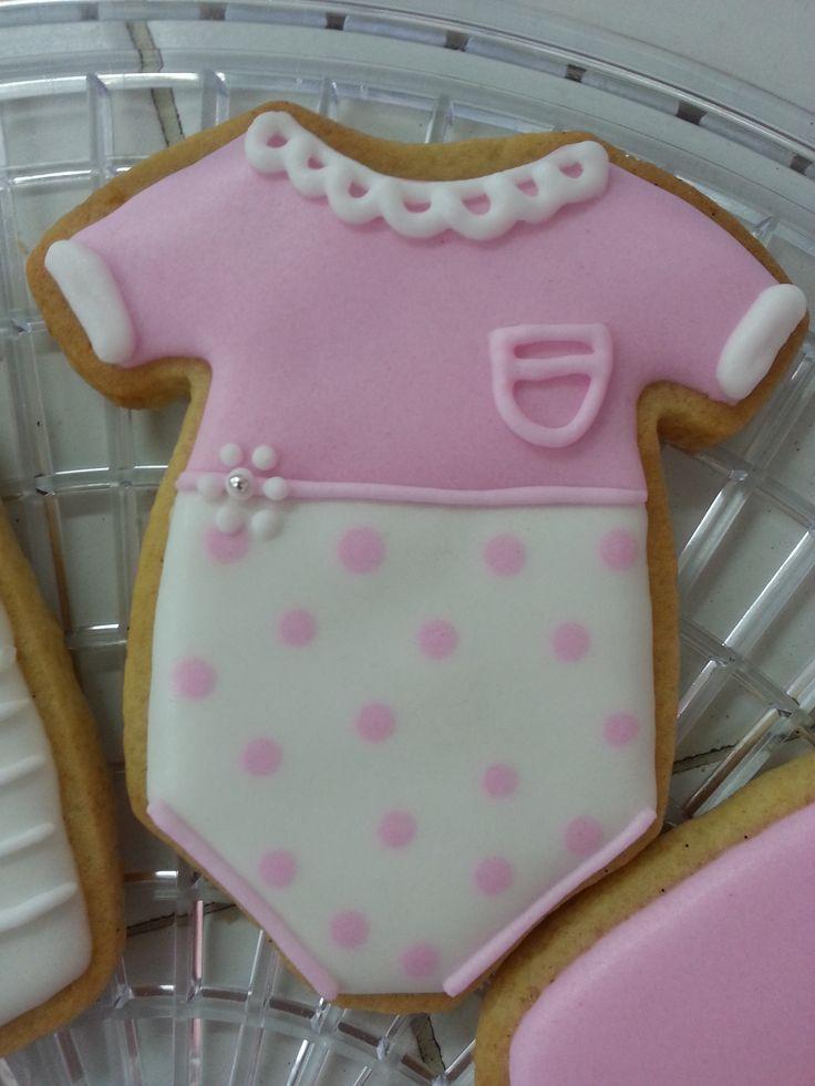 Baby shower onesie pink cookie