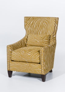 A Sleek, Modern Chair Silhouette In A Citrine Colored Faux Bois Chenille  Fabric. This